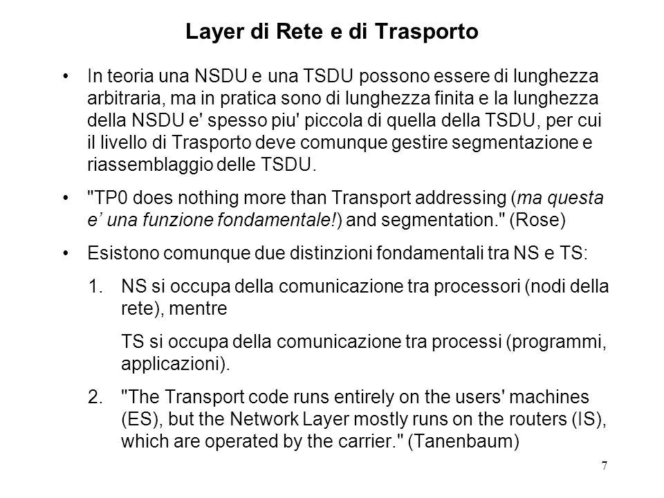 7 Layer di Rete e di Trasporto In teoria una NSDU e una TSDU possono essere di lunghezza arbitraria, ma in pratica sono di lunghezza finita e la lungh