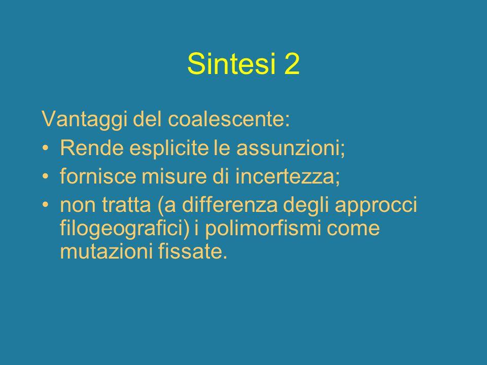 Sintesi 2 Vantaggi del coalescente: Rende esplicite le assunzioni; fornisce misure di incertezza; non tratta (a differenza degli approcci filogeografi