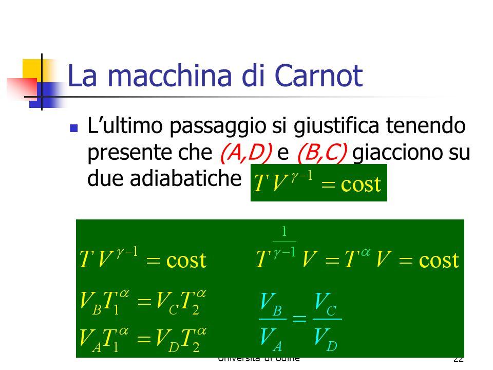 Marina Cobal - Dipt.di Fisica - Universita di Udine22 La macchina di Carnot Lultimo passaggio si giustifica tenendo presente che (A,D) e (B,C) giacciono su due adiabatiche