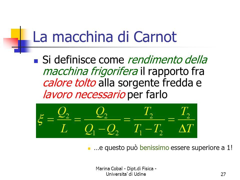 Marina Cobal - Dipt.di Fisica - Universita di Udine27 La macchina di Carnot Si definisce come rendimento della macchina frigorifera il rapporto fra calore tolto alla sorgente fredda e lavoro necessario per farlo …e questo può benissimo essere superiore a 1!