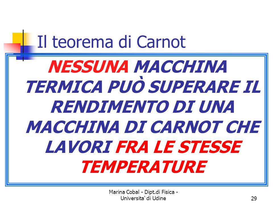 Marina Cobal - Dipt.di Fisica - Universita di Udine29 Il teorema di Carnot NESSUNA MACCHINA TERMICA PUÒ SUPERARE IL RENDIMENTO DI UNA MACCHINA DI CARNOT CHE LAVORI FRA LE STESSE TEMPERATURE