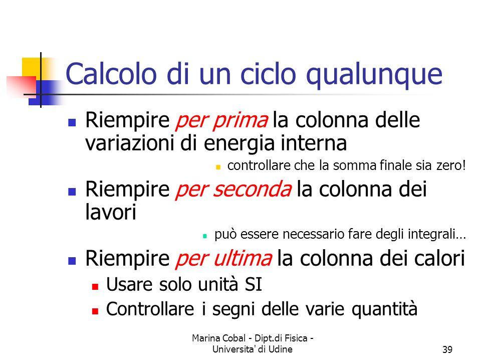 Marina Cobal - Dipt.di Fisica - Universita di Udine39 Calcolo di un ciclo qualunque Riempire per prima la colonna delle variazioni di energia interna controllare che la somma finale sia zero.