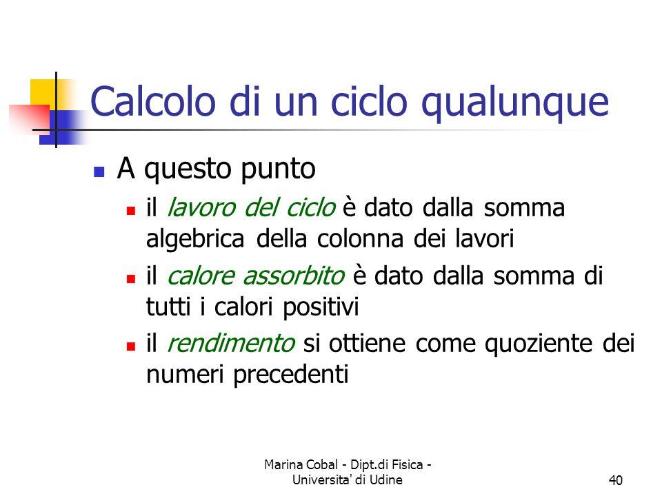 Marina Cobal - Dipt.di Fisica - Universita di Udine40 Calcolo di un ciclo qualunque A questo punto il lavoro del ciclo è dato dalla somma algebrica della colonna dei lavori il calore assorbito è dato dalla somma di tutti i calori positivi il rendimento si ottiene come quoziente dei numeri precedenti