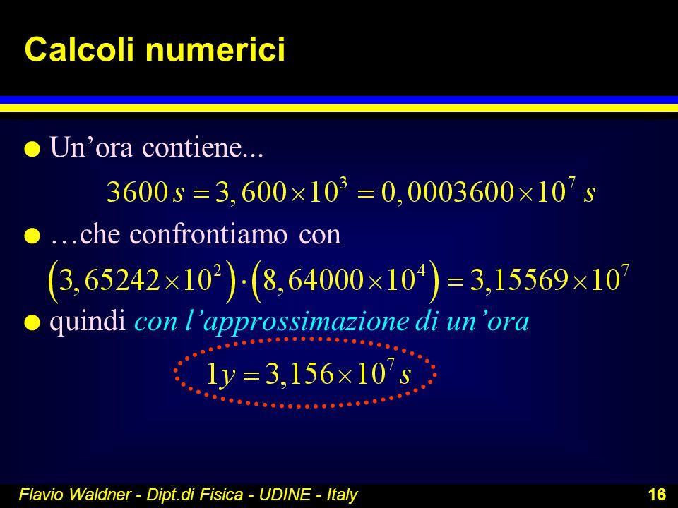 Flavio Waldner - Dipt.di Fisica - UDINE - Italy 16 Calcoli numerici l Unora contiene... l …che confrontiamo con l quindi con lapprossimazione di unora