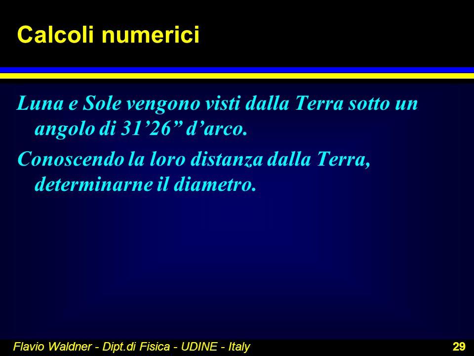 Flavio Waldner - Dipt.di Fisica - UDINE - Italy 29 Calcoli numerici Luna e Sole vengono visti dalla Terra sotto un angolo di 3126 darco. Conoscendo la