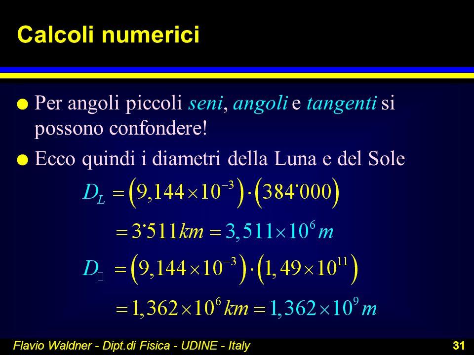 Flavio Waldner - Dipt.di Fisica - UDINE - Italy 31 Calcoli numerici l Per angoli piccoli seni, angoli e tangenti si possono confondere! l Ecco quindi