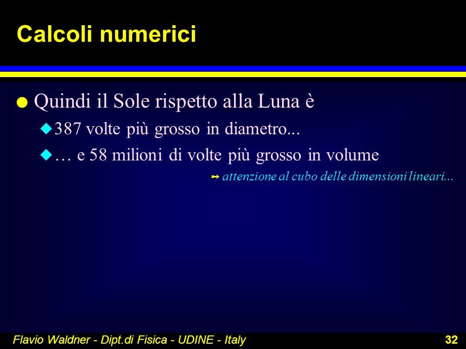 Flavio Waldner - Dipt.di Fisica - UDINE - Italy 32 Calcoli numerici l Quindi il Sole rispetto alla Luna è u 387 volte più grosso in diametro... u … e