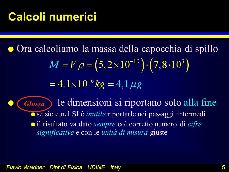 Flavio Waldner - Dipt.di Fisica - UDINE - Italy 5 Calcoli numerici l Ora calcoliamo la massa della capocchia di spillo l le dimensioni si riportano so