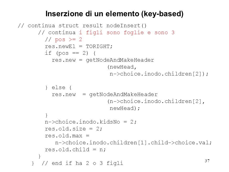 37 Inserzione di un elemento (key-based) // continua struct result nodeInsert() // continua i figli sono foglie e sono 3 // pos >= 2 res.newEl = TORIG