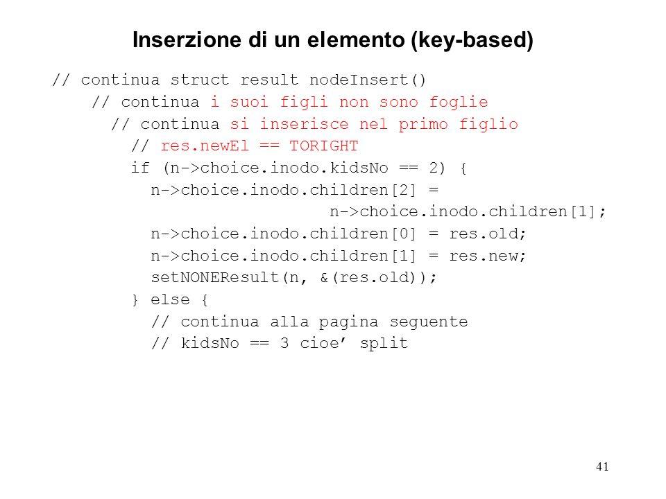 41 Inserzione di un elemento (key-based) // continua struct result nodeInsert() // continua i suoi figli non sono foglie // continua si inserisce nel