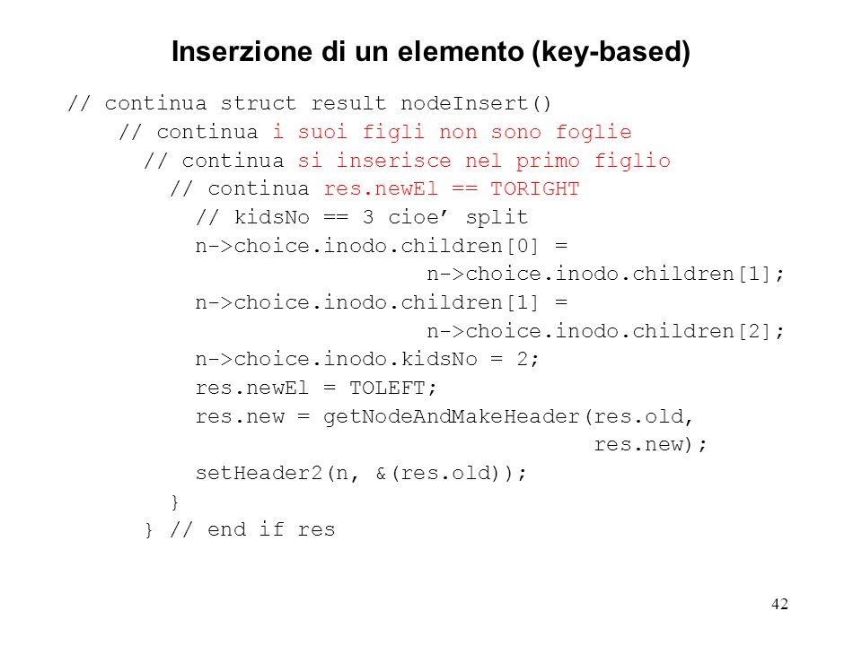 42 Inserzione di un elemento (key-based) // continua struct result nodeInsert() // continua i suoi figli non sono foglie // continua si inserisce nel