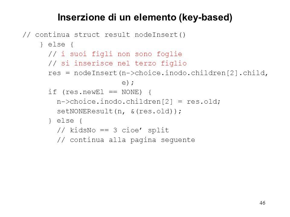 46 Inserzione di un elemento (key-based) // continua struct result nodeInsert() } else { // i suoi figli non sono foglie // si inserisce nel terzo fig