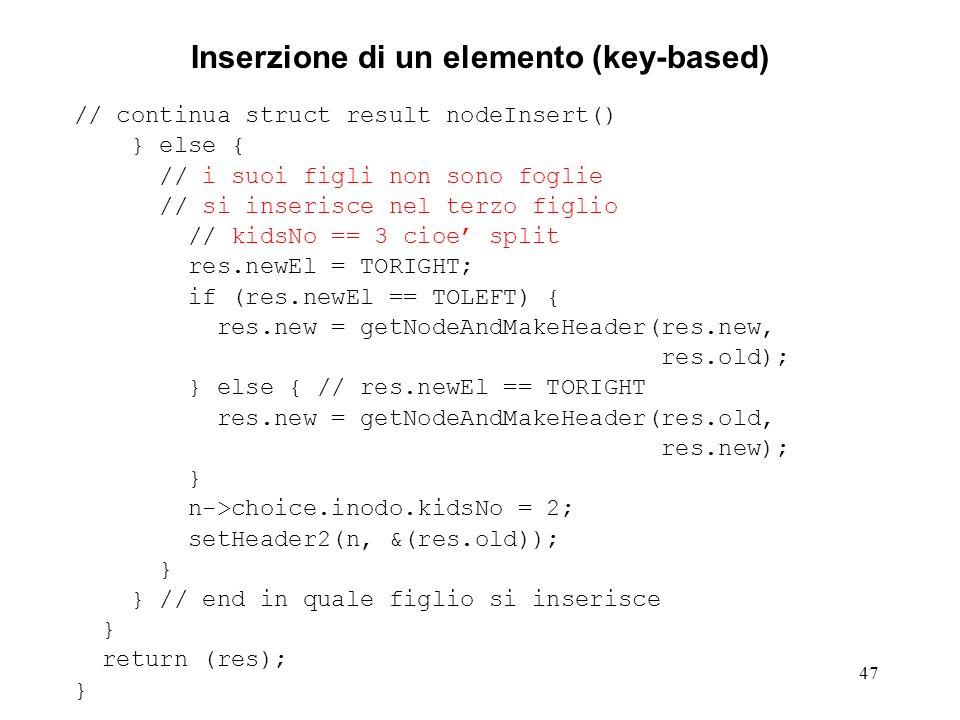 47 Inserzione di un elemento (key-based) // continua struct result nodeInsert() } else { // i suoi figli non sono foglie // si inserisce nel terzo fig