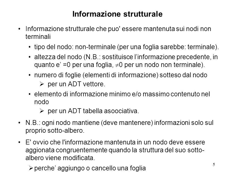26 Inserzione di un elemento (key-based) struct result { int newEl; #define NONE 0 #define TOLEFT 1 #define TORIGHT 2 struct header old; struct header new; };