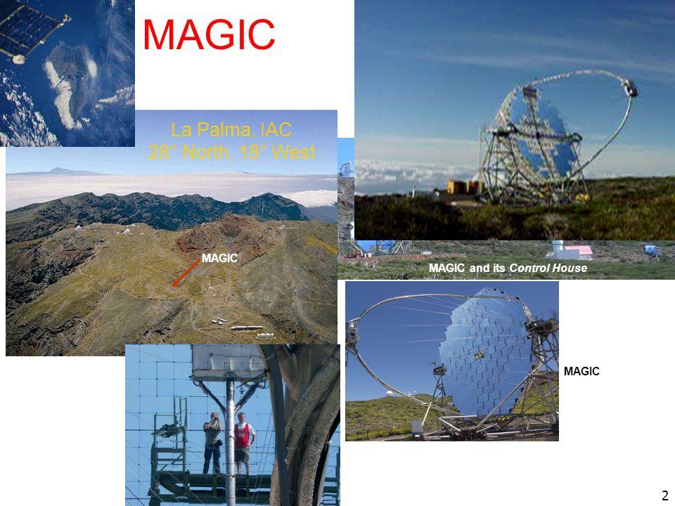 2 Grantecan MAGIC and its Control House Telescopio Nazionale Galileo MAGIC La Palma, IAC 28° North, 18° West MAGIC