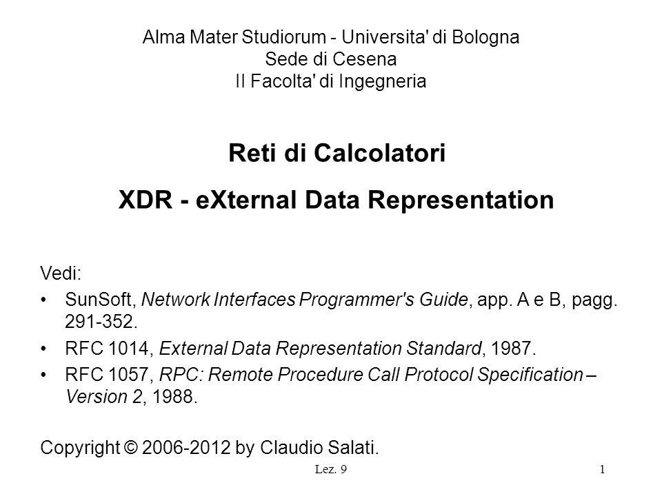 Lez. 91 Reti di Calcolatori XDR - eXternal Data Representation Vedi: SunSoft, Network Interfaces Programmer's Guide, app. A e B, pagg. 291-352. RFC 10