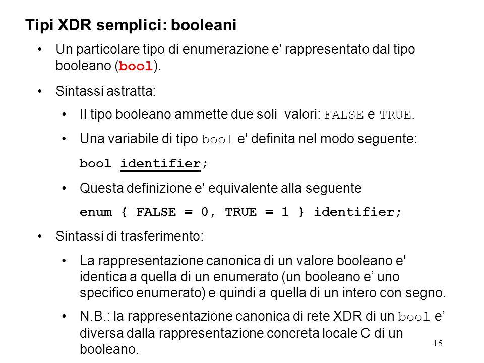 15 Un particolare tipo di enumerazione e' rappresentato dal tipo booleano ( bool ). Sintassi astratta: Il tipo booleano ammette due soli valori: FALSE