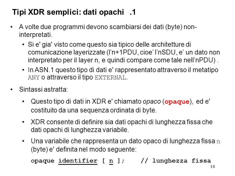 16 A volte due programmi devono scambiarsi dei dati (byte) non- interpretati. Si e' gia' visto come questo sia tipico delle architetture di comunicazi