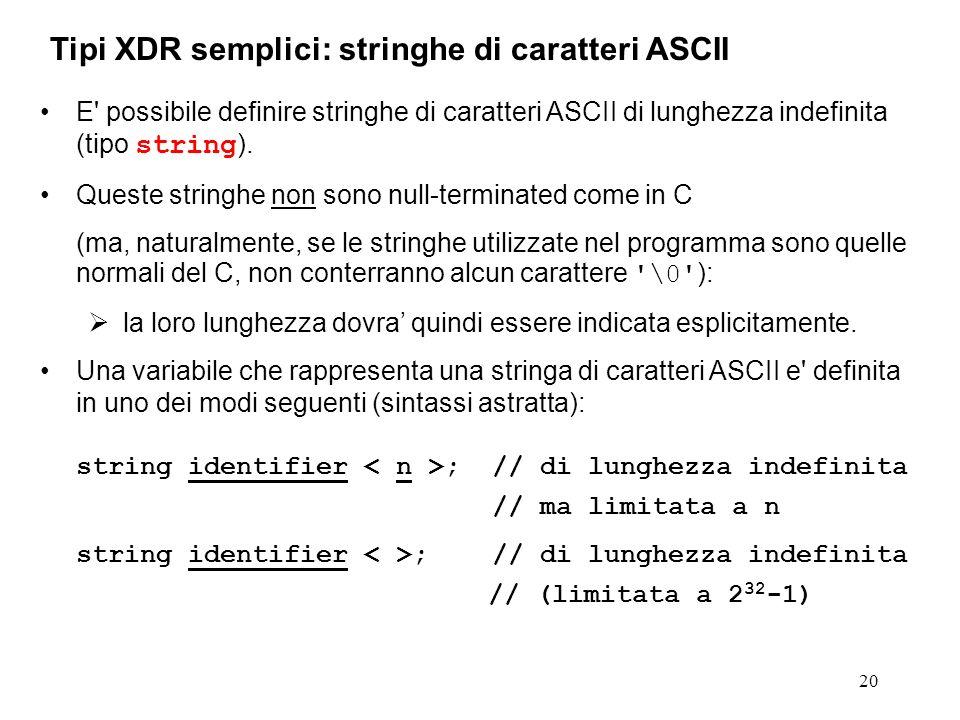 20 E' possibile definire stringhe di caratteri ASCII di lunghezza indefinita (tipo string ). Queste stringhe non sono null-terminated come in C (ma, n