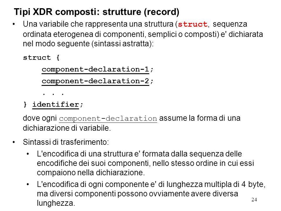 24 Una variabile che rappresenta una struttura ( struct, sequenza ordinata eterogenea di componenti, semplici o composti) e' dichiarata nel modo segue