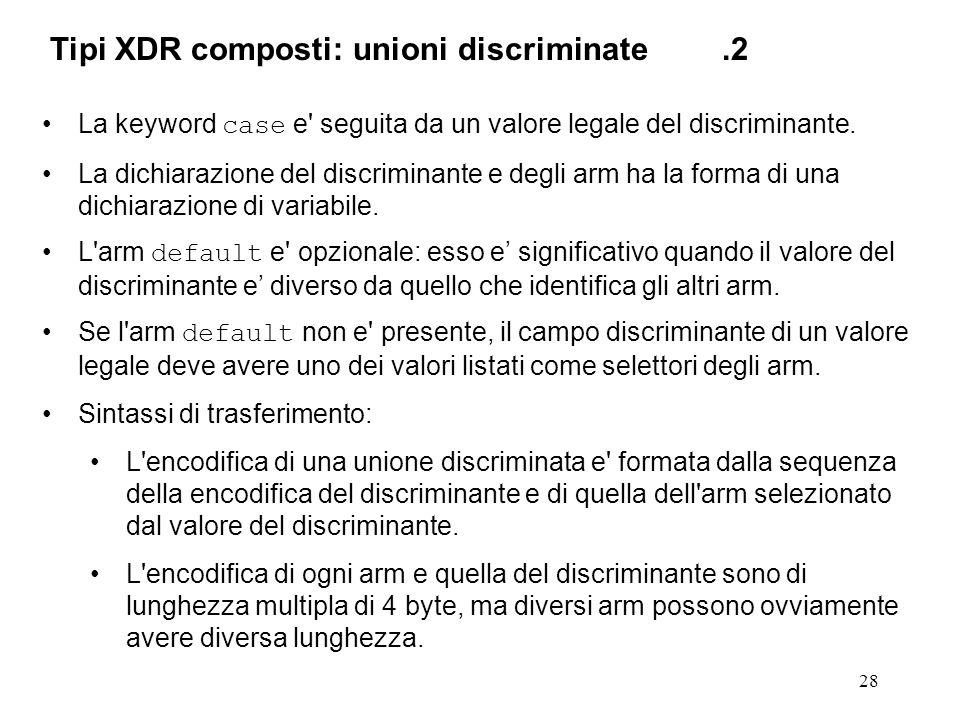 28 La keyword case e' seguita da un valore legale del discriminante. La dichiarazione del discriminante e degli arm ha la forma di una dichiarazione d
