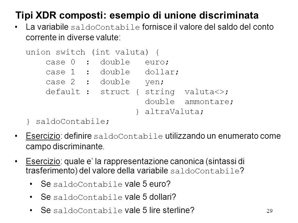 29 La variabile saldoContabile fornisce il valore del saldo del conto corrente in diverse valute: union switch (int valuta) { case 0 : double euro; ca