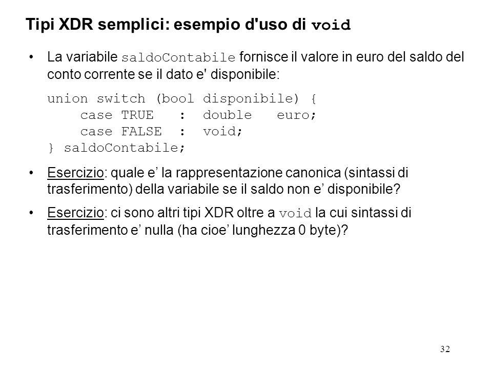 32 La variabile saldoContabile fornisce il valore in euro del saldo del conto corrente se il dato e' disponibile: union switch (bool disponibile) { ca