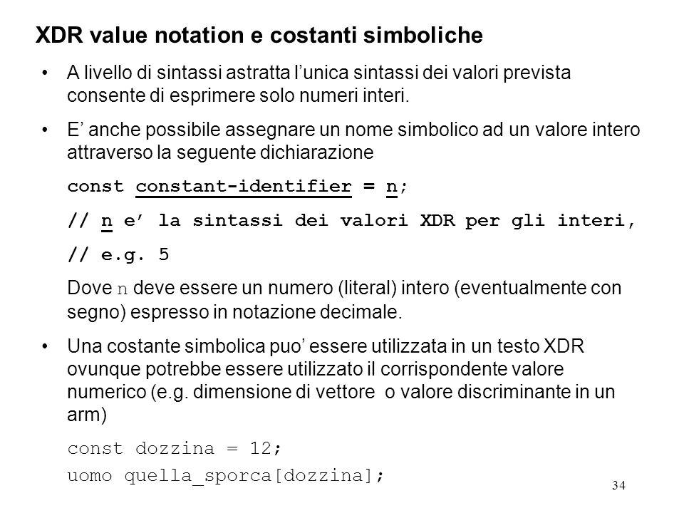 34 A livello di sintassi astratta lunica sintassi dei valori prevista consente di esprimere solo numeri interi. E anche possibile assegnare un nome si