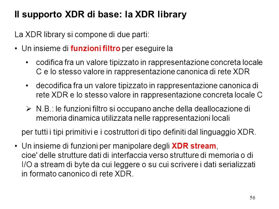 56 La XDR library si compone di due parti: Un insieme di funzioni filtro per eseguire la codifica fra un valore tipizzato in rappresentazione concreta