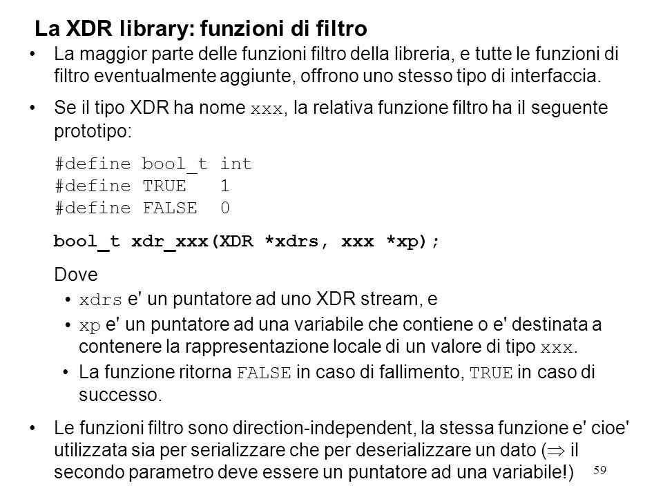 59 La maggior parte delle funzioni filtro della libreria, e tutte le funzioni di filtro eventualmente aggiunte, offrono uno stesso tipo di interfaccia
