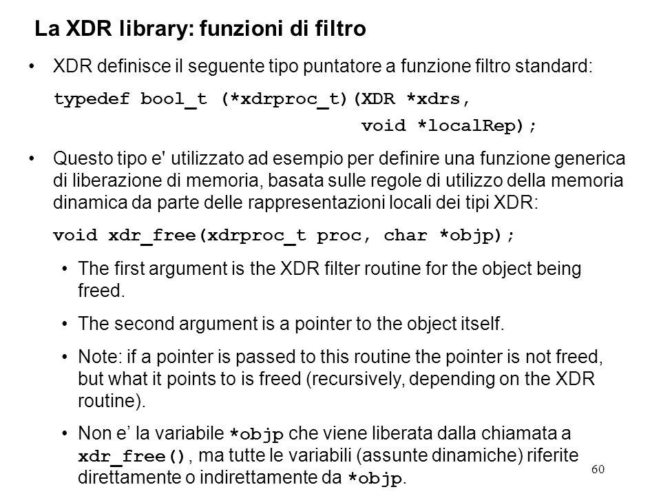 60 XDR definisce il seguente tipo puntatore a funzione filtro standard: typedef bool_t (*xdrproc_t)(XDR *xdrs, void *localRep); Questo tipo e' utilizz