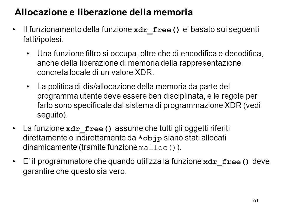 61 Il funzionamento della funzione xdr_free() e basato sui seguenti fatti/ipotesi: Una funzione filtro si occupa, oltre che di encodifica e decodifica