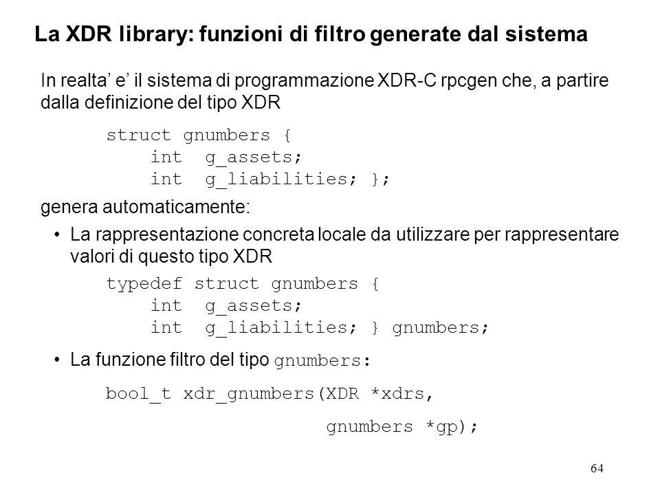 64 In realta e il sistema di programmazione XDR-C rpcgen che, a partire dalla definizione del tipo XDR struct gnumbers { int g_assets; int g_liabiliti