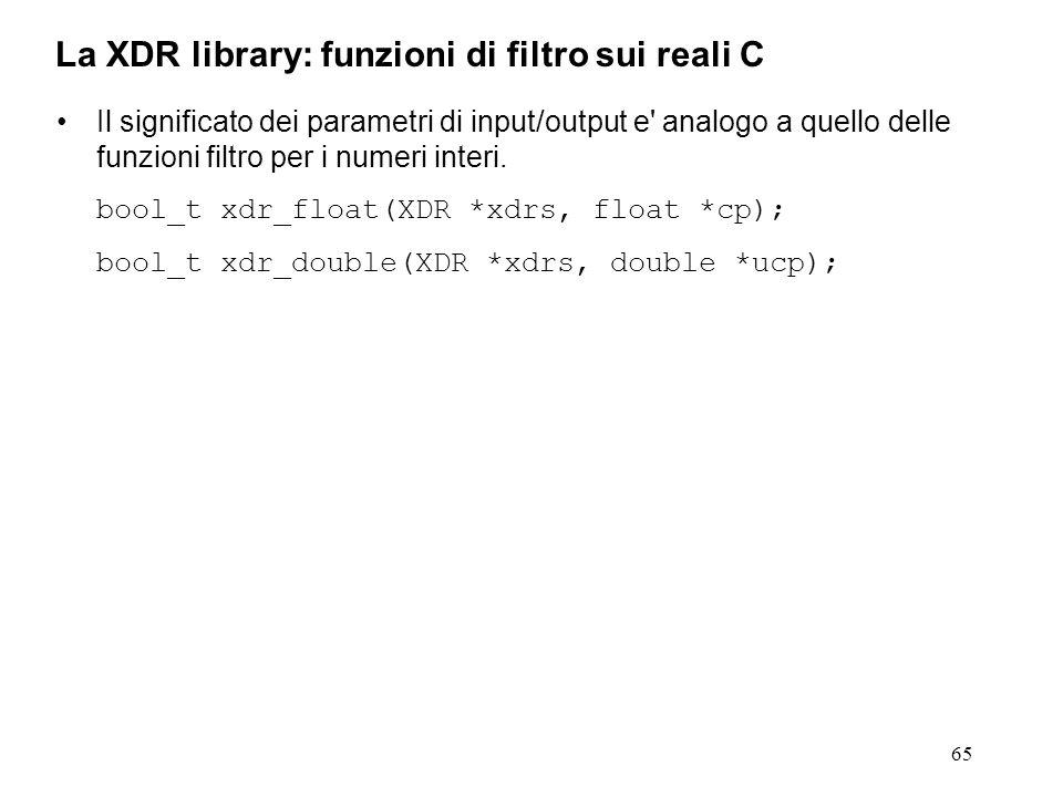 65 Il significato dei parametri di input/output e' analogo a quello delle funzioni filtro per i numeri interi. bool_t xdr_float(XDR *xdrs, float *cp);