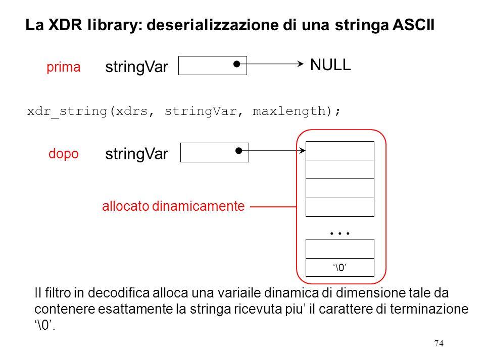 74 La XDR library: deserializzazione di una stringa ASCII xdr_string(xdrs, stringVar, maxlength); Il filtro in decodifica alloca una variaile dinamica