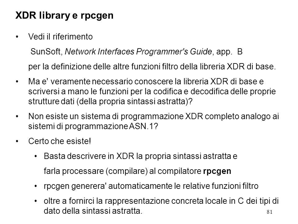 81 Vedi il riferimento SunSoft, Network Interfaces Programmer's Guide, app. B per la definizione delle altre funzioni filtro della libreria XDR di bas