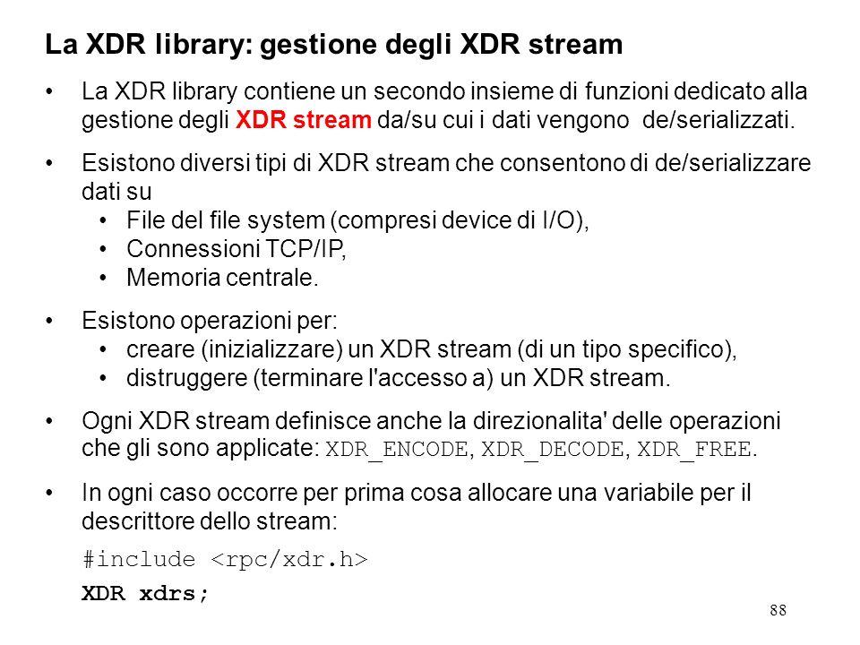 88 La XDR library contiene un secondo insieme di funzioni dedicato alla gestione degli XDR stream da/su cui i dati vengono de/serializzati. Esistono d