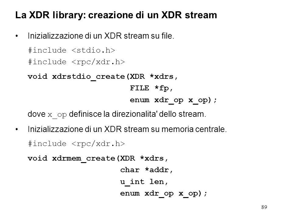 89 Inizializzazione di un XDR stream su file. #include void xdrstdio_create(XDR *xdrs, FILE *fp, enum xdr_op x_op); dove x_op definisce la direzionali