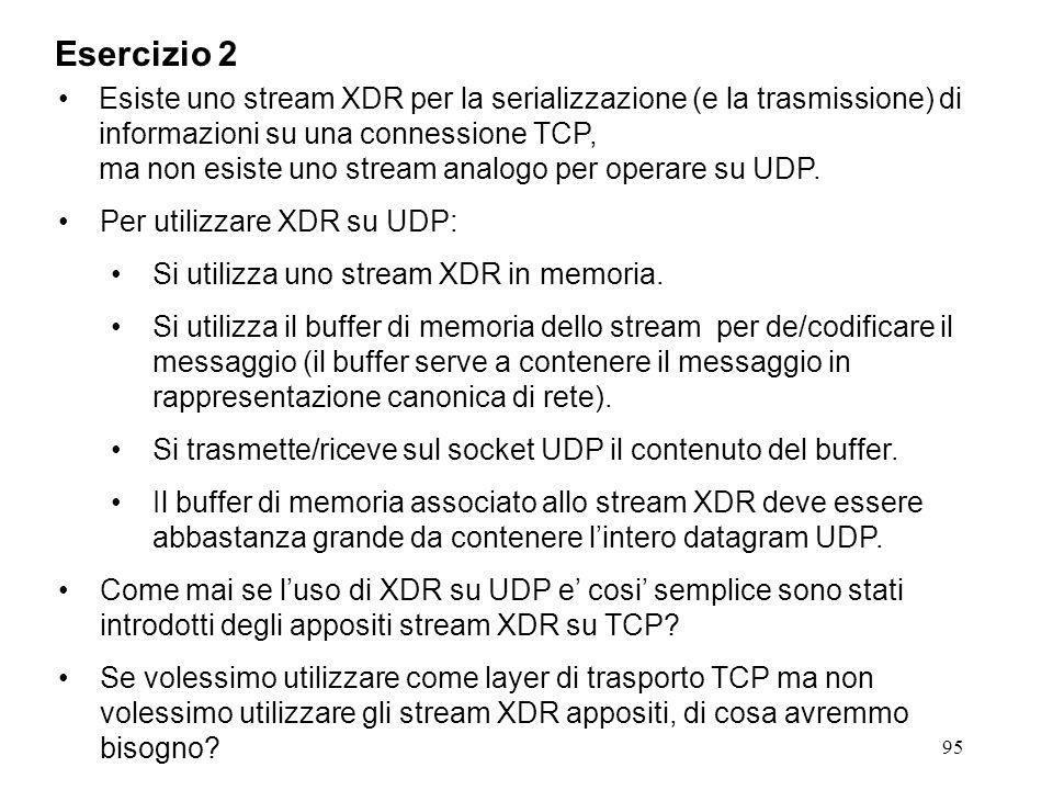95 Esiste uno stream XDR per la serializzazione (e la trasmissione) di informazioni su una connessione TCP, ma non esiste uno stream analogo per opera