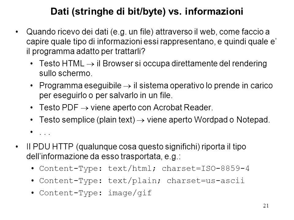 21 Dati (stringhe di bit/byte) vs. informazioni Quando ricevo dei dati (e.g. un file) attraverso il web, come faccio a capire quale tipo di informazio