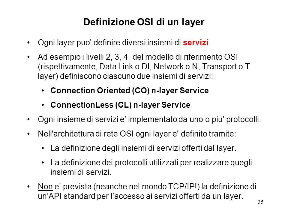 35 Definizione OSI di un layer Ogni layer puo' definire diversi insiemi di servizi Ad esempio i livelli 2, 3, 4 del modello di riferimento OSI (rispet