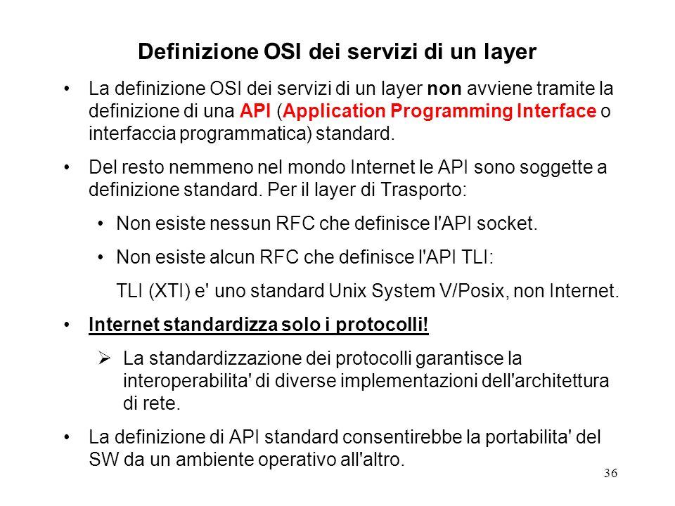 36 Definizione OSI dei servizi di un layer La definizione OSI dei servizi di un layer non avviene tramite la definizione di una API (Application Progr