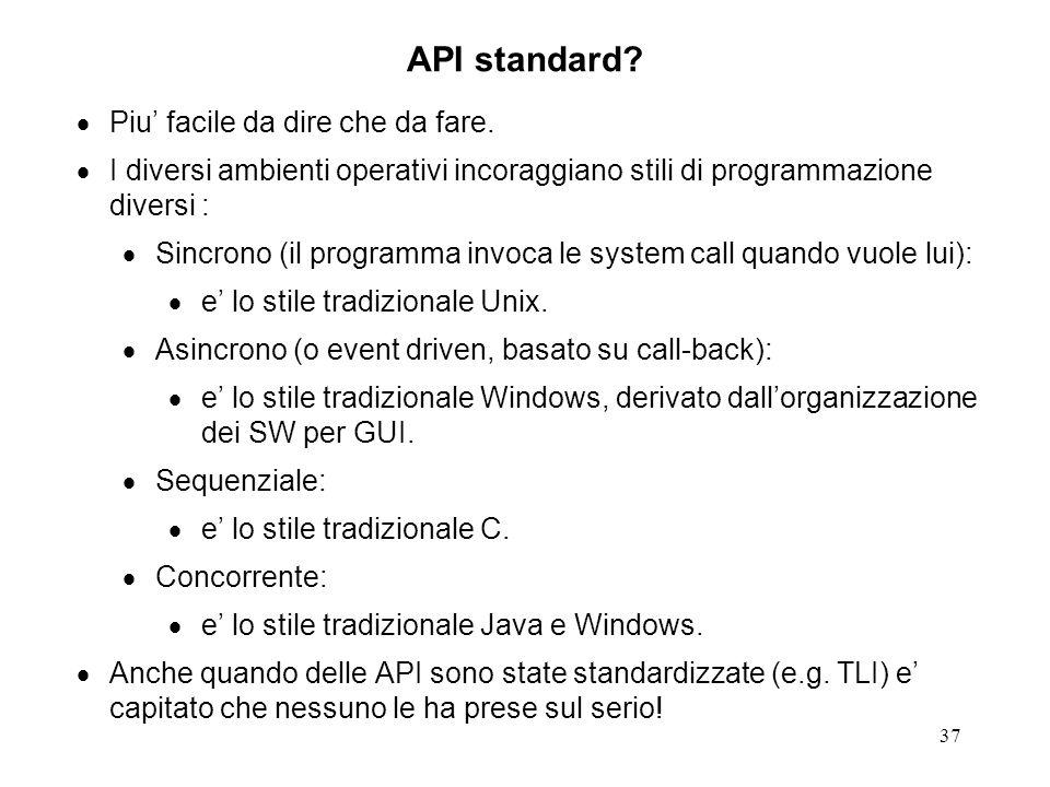 37 API standard? Piu facile da dire che da fare. I diversi ambienti operativi incoraggiano stili di programmazione diversi : Sincrono (il programma in