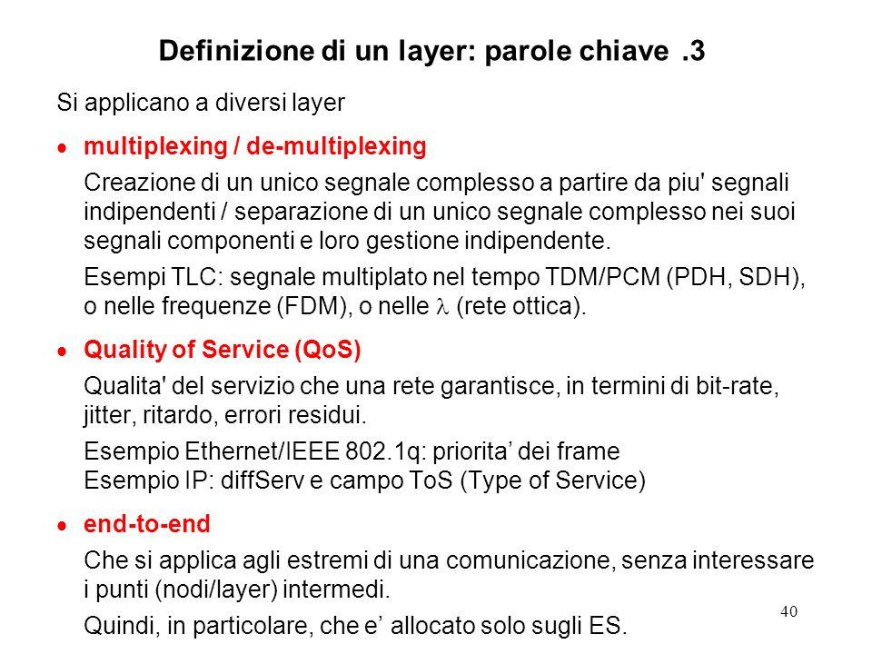 40 Definizione di un layer: parole chiave.3 Si applicano a diversi layer multiplexing / de-multiplexing Creazione di un unico segnale complesso a part