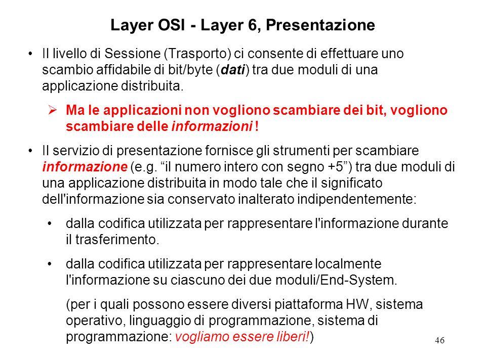 46 Layer OSI - Layer 6, Presentazione Il livello di Sessione (Trasporto) ci consente di effettuare uno scambio affidabile di bit/byte (dati) tra due m