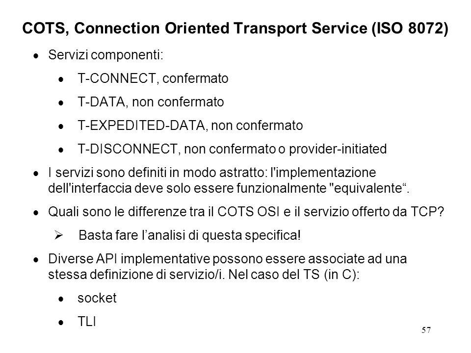 57 COTS, Connection Oriented Transport Service (ISO 8072) Servizi componenti: T-CONNECT, confermato T-DATA, non confermato T-EXPEDITED-DATA, non confe