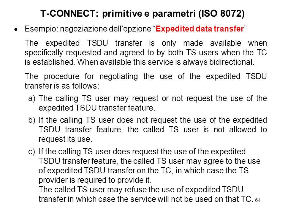 64 T-CONNECT: primitive e parametri (ISO 8072) Esempio: negoziazione dellopzione Expedited data transfer The expedited TSDU transfer is only made avai