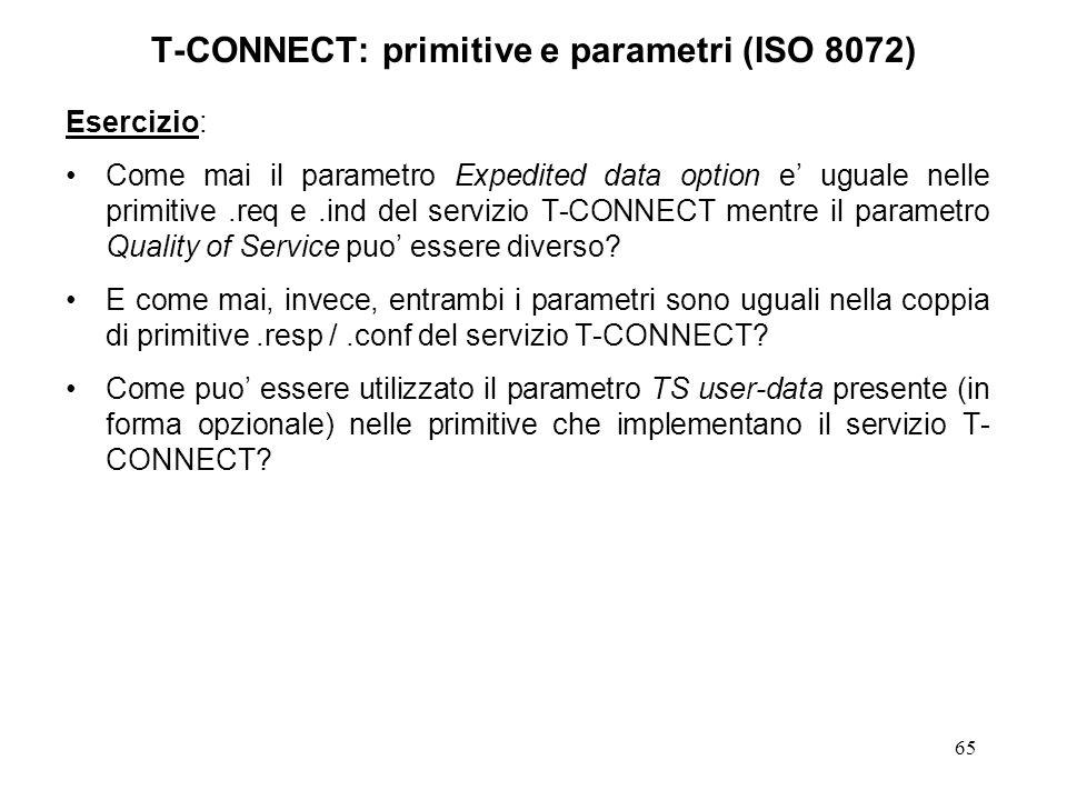 65 T-CONNECT: primitive e parametri (ISO 8072) Esercizio: Come mai il parametro Expedited data option e uguale nelle primitive.req e.ind del servizio