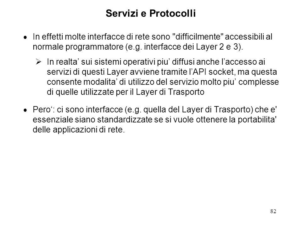 82 Servizi e Protocolli In effetti molte interfacce di rete sono