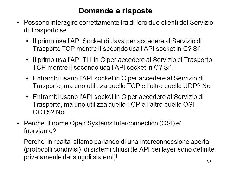 83 Domande e risposte Possono interagire correttamente tra di loro due clienti del Servizio di Trasporto se Il primo usa lAPI Socket di Java per acced